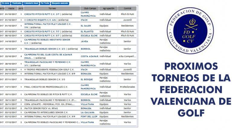 Proximos torneos de la federacion valencianade Golf